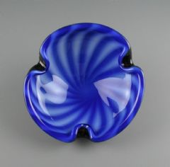 Vintage Italian Murano Glass Blue White Circus Tent Pinched Bowl  after Barbini 20cm